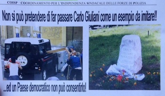 Carlo Giuliani, il sindacato di Polizia volantina contro di lui nell'anniversario della sua morte